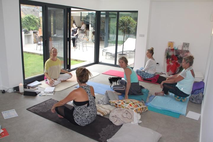 yoga class in garden studio